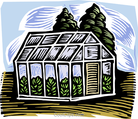 nature, woodcut style, greenhouse Royalty Free Vector Clip Art illustration vc001890