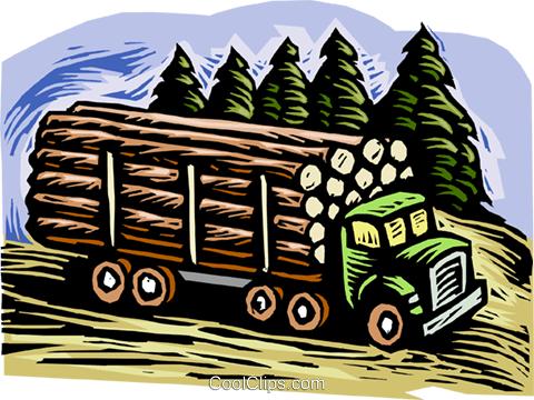 Forestry industry, lumber truck Royalty Free Vector Clip Art illustration vc001894