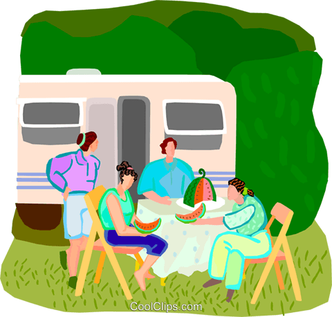 summer vacation, picnic Royalty Free Vector Clip Art illustration vc001910