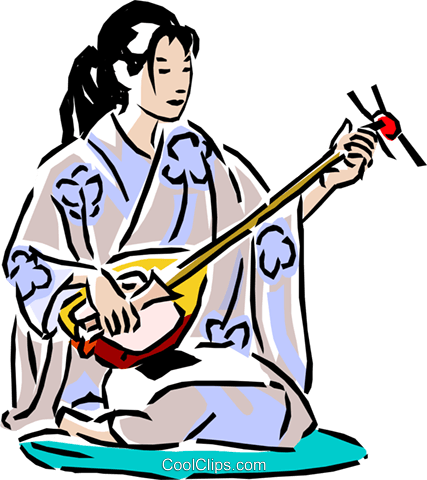 Japanese woman with stringed instrument Royalty Free Vector Clip Art illustration vc001943