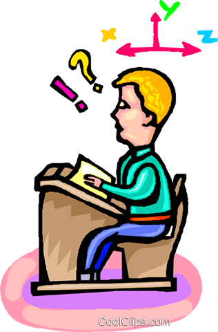student at his desk Royalty Free Vector Clip Art illustration vc001948