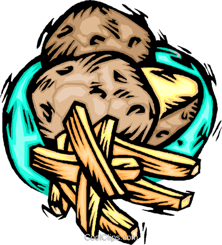 food, potatoes and fries Royalty Free Vector Clip Art illustration vc001950