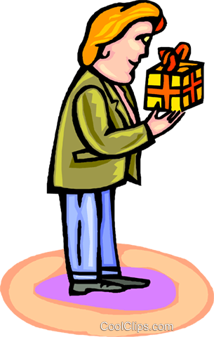 man with a gift Royalty Free Vector Clip Art illustration vc001953