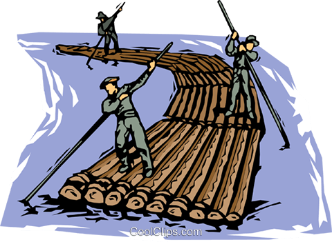 forestry floating logs down a river Royalty Free Vector Clip Art illustration vc001966