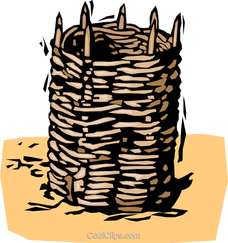 historical, woven basket Royalty Free Vector Clip Art illustration vc001969