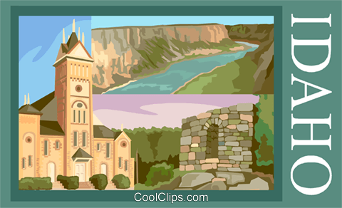 Idaho postcard design Royalty Free Vector Clip Art illustration vc002011