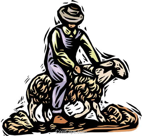 shearing a sheep, wool industry Royalty Free Vector Clip Art illustration vc002032