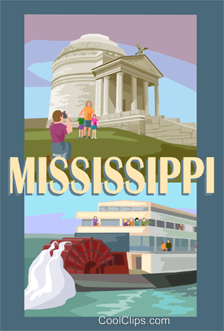 State of Mississippi Royalty Free Vector Clip Art illustration vc002044