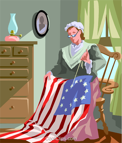 Betsy Griscom Ross American seamstress Royalty Free Vector Clip Art illustration vc002047