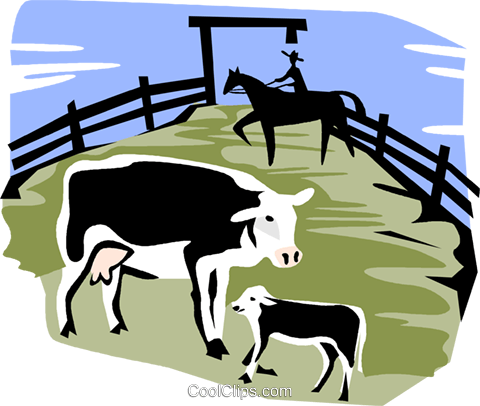 cows in a corral Royalty Free Vector Clip Art illustration vc002166