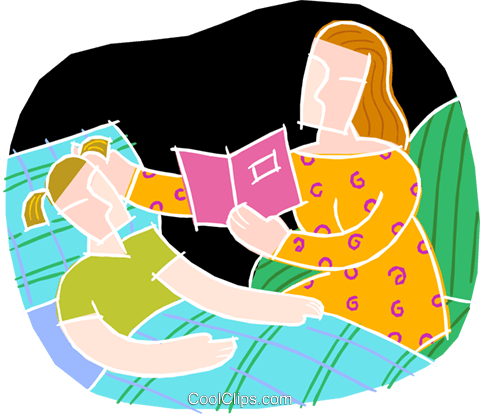 mother reading to child Royalty Free Vector Clip Art illustration vc002217