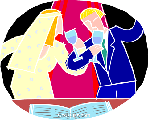 Wedding couple making a toast Royalty Free Vector Clip Art illustration vc002219
