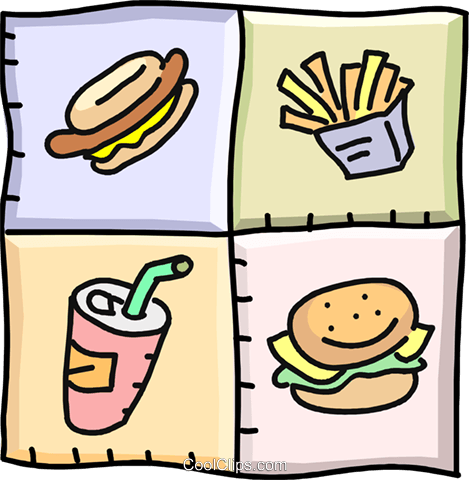 food designs, fast foods Royalty Free Vector Clip Art illustration vc002273