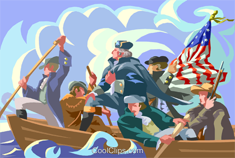 Washington crossing the Delaware Royalty Free Vector Clip Art illustration vc002292