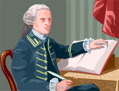 John Hancock with his trusty pen Royalty Free Vector Clip Art illustration vc002295