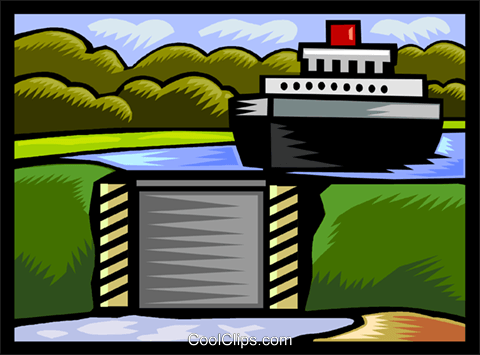 ship approaching locks Royalty Free Vector Clip Art illustration vc002299