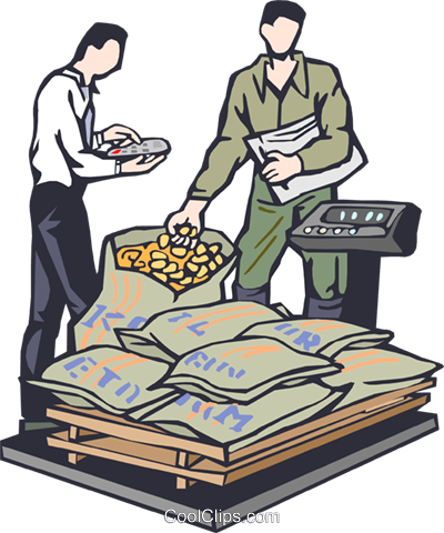 weighing commodities Royalty Free Vector Clip Art illustration vc002359