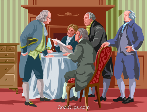 drafting the Declaration of Independence Royalty Free Vector Clip Art illustration vc002369
