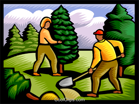 planting a tree Royalty Free Vector Clip Art illustration vc002374