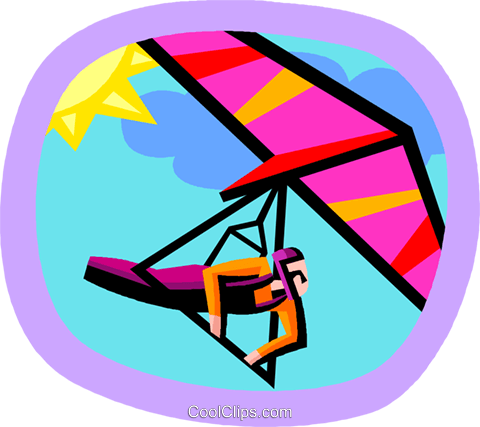 hang gliding Royalty Free Vector Clip Art illustration vc002403