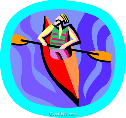 water sports, kayaking Royalty Free Vector Clip Art illustration vc002408
