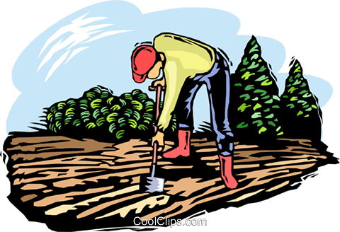 Farmer working the soil Royalty Free Vector Clip Art illustration vc002456