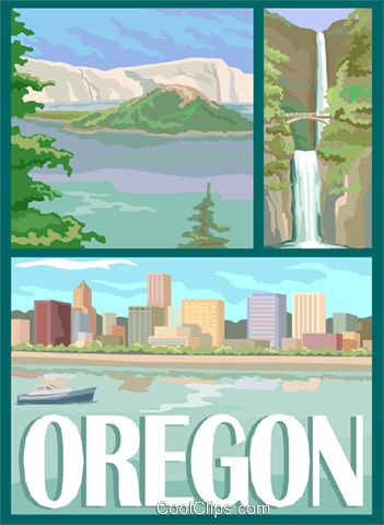 State of Oregon Royalty Free Vector Clip Art illustration vc002474