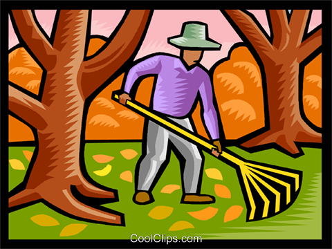 Man raking leaves Royalty Free Vector Clip Art illustration vc002482