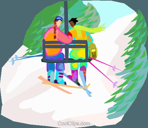 Skifahren Sessellift Vektor Clipart Bild Vc002495 Coolclips Com