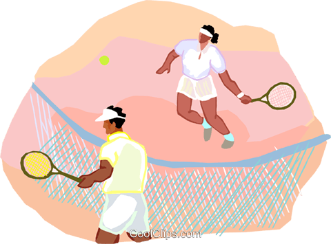playing tennis Royalty Free Vector Clip Art illustration vc002496