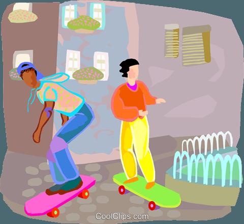 滑板 免版税矢量剪贴画插图