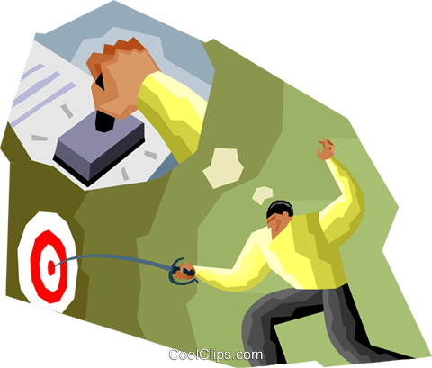 fencer hitting the target Royalty Free Vector Clip Art illustration vc002509