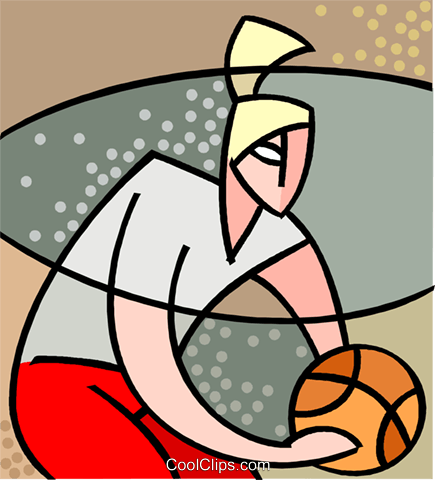 Basketball player dribbling ball Royalty Free Vector Clip Art illustration vc002513