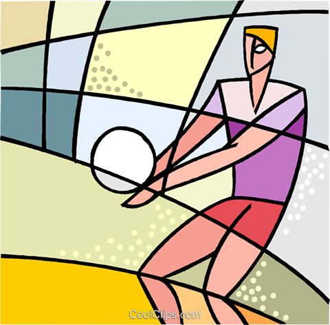 Volleyball player bumping the ball Royalty Free Vector Clip Art illustration vc002579