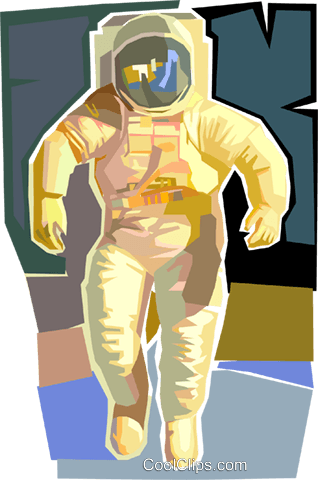 Astronaut in space suit Royalty Free Vector Clip Art illustration vc002589
