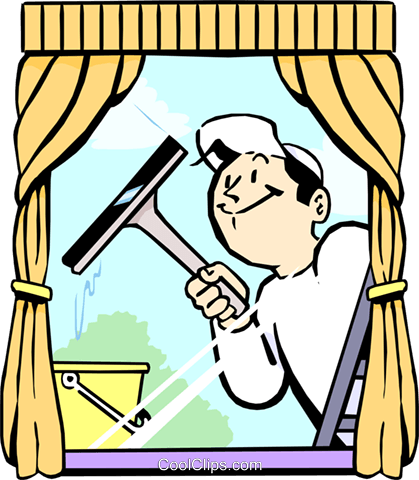 window cleaner Royalty Free Vector Clip Art illustration vc002607