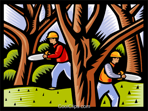 forestry workers Royalty Free Vector Clip Art illustration vc002612