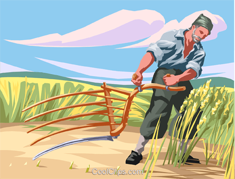Farm workers farming hay  pitch-fork Royalty Free Vector Clip Art illustration vc002637