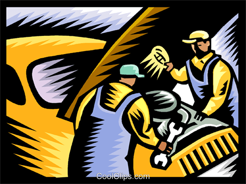 Mechanics at work Royalty Free Vector Clip Art illustration vc002638
