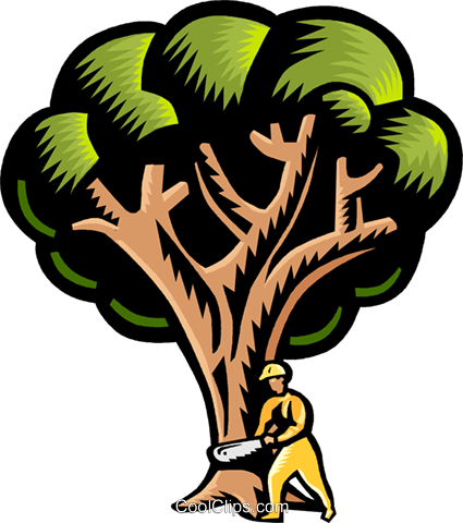 Cutting down a tree Royalty Free Vector Clip Art illustration vc002639