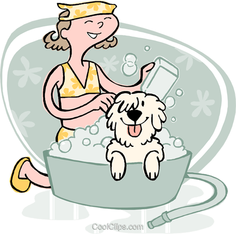 girl bathing dog Royalty Free Vector Clip Art illustration vc002650