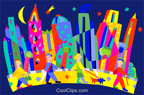 symbolic city Royalty Free Vector Clip Art illustration vc002682