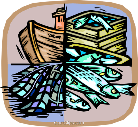 Commercial fishing concept Royalty Free Vector Clip Art illustration vc002705