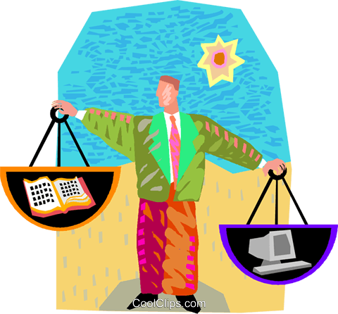 weighing the alternatives Royalty Free Vector Clip Art illustration vc002750