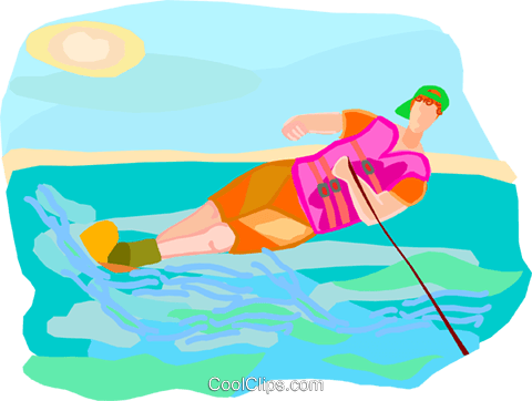 water skiing Royalty Free Vector Clip Art illustration vc002753