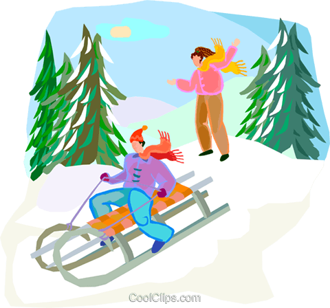 sleigh ride Royalty Free Vector Clip Art illustration vc002760