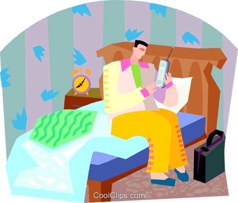 man getting out of bed Royalty Free Vector Clip Art illustration vc002761