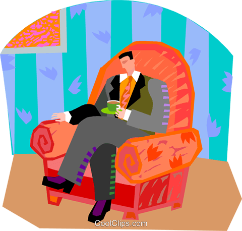 man having tea Royalty Free Vector Clip Art illustration vc002767