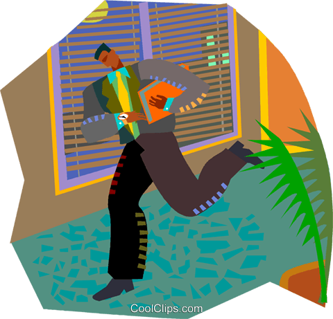 man running to work Royalty Free Vector Clip Art illustration vc002772