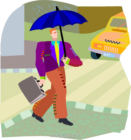 Man walking in rain Royalty Free Vector Clip Art illustration vc002776